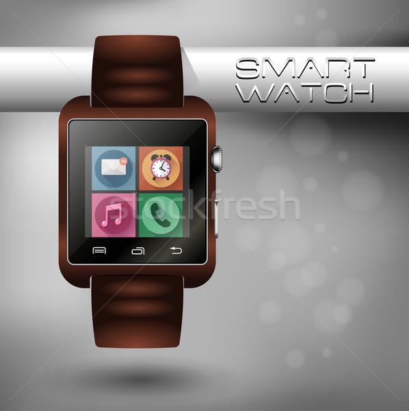 現代 スマート 時計 革 ブレスレット ストックフォト © MarySan