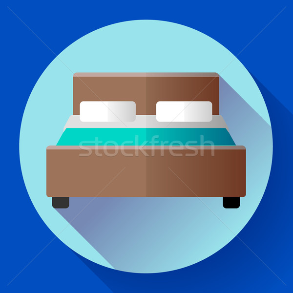 Stock photo: Hotel Double Bed icon flat style