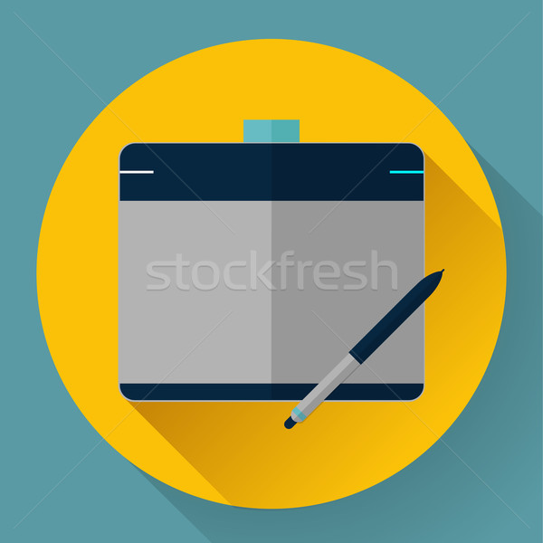 Vector grafische tablet icon pen ontwerp Stockfoto © MarySan