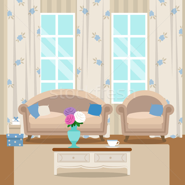 Living room with furniture. Cozy interior. Flat style vector Stock photo © MarySan
