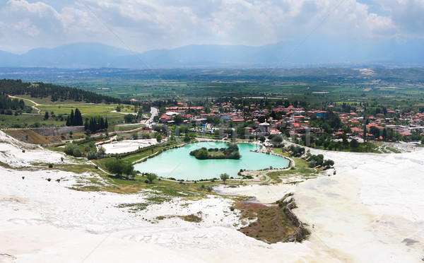 View of Pamukkale and city Denizli from top of the mountain Stock photo © MarySan