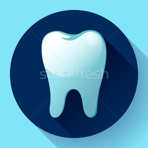 Dente icona vettore lungo ombra dentista Foto d'archivio © MarySan