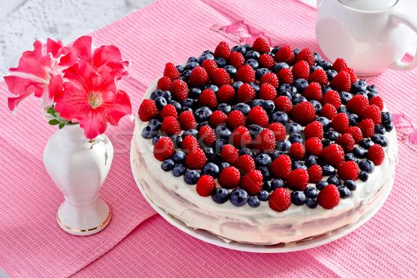 Cremoso dulce torta chocolate crema arándanos Foto stock © MarySan