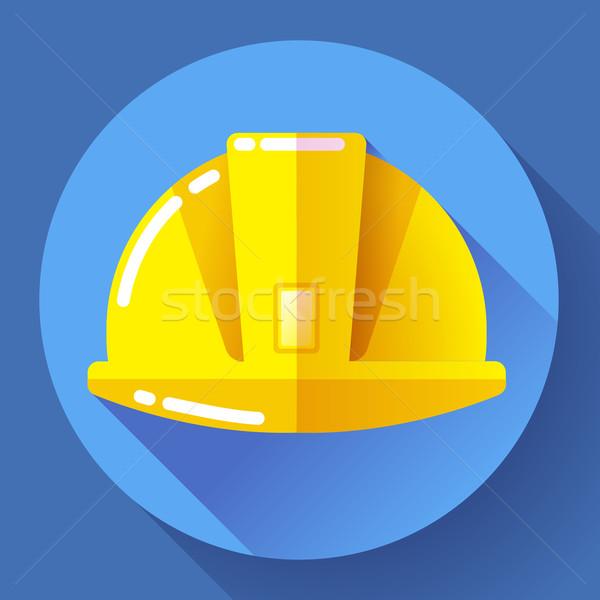 Jaune travailleur de la construction casque icône design style Photo stock © MarySan