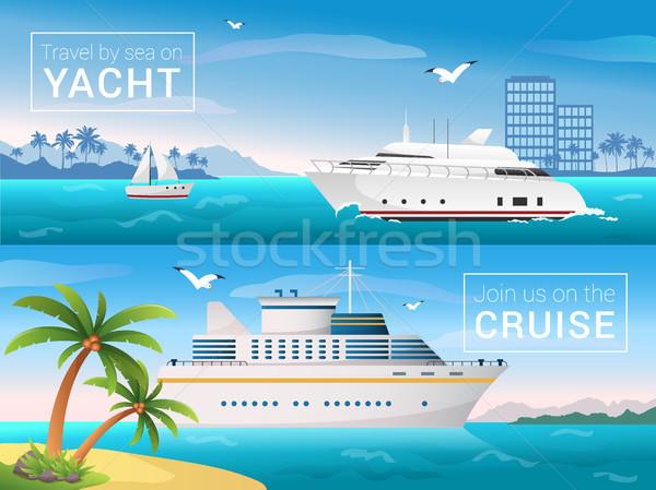 вектора путешествия Баннеры набор яхта Тропический остров Сток-фото © MarySan