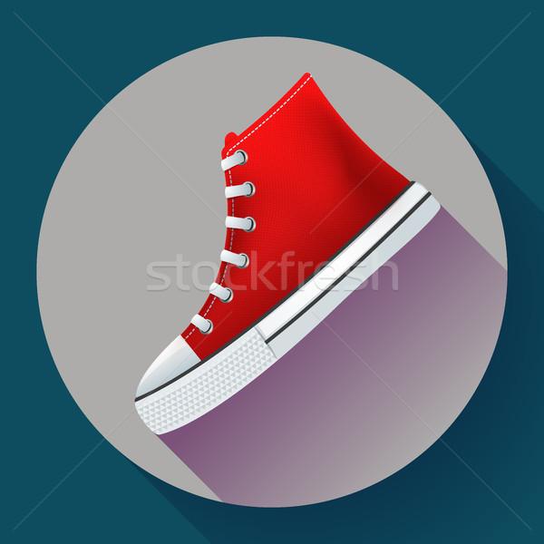 Stock fotó: Piros · sportcipők · cipők · város · fut · cipő