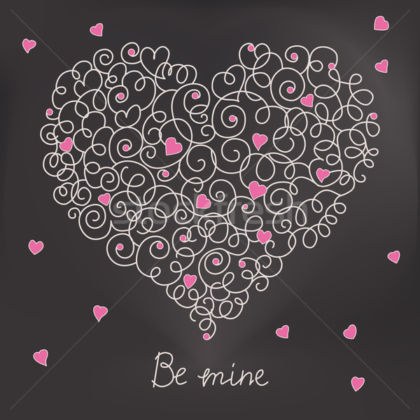 Greeting card with floral heart shape. Be mine sign Stock photo © MarySan