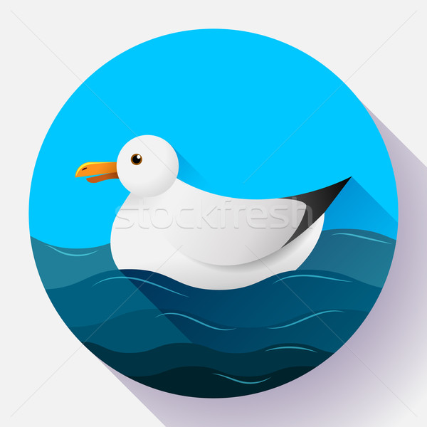 Flat seagull character icon on blue sea background Stock photo © MarySan