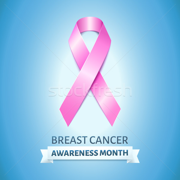 Realistic pink ribbon on blue, breast cancer awareness month symbol Stock photo © MarySan