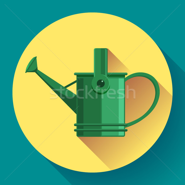 Watering can icon. Irrigation symbol. Flat Vector illustration. Stock photo © MarySan