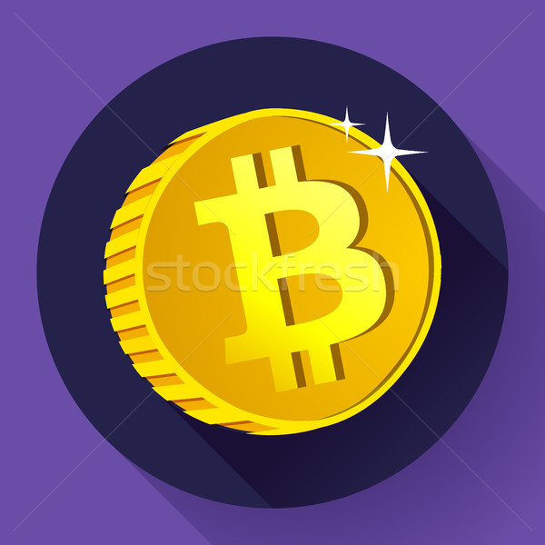 Bitcoin. Gold coin with Bitcoin symbol. Cryptography currency Stock photo © MarySan