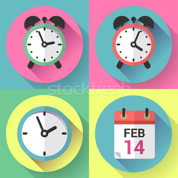 Alarm clock, office clock and calendar with a date of Valentines Day.  Stock photo © MarySan