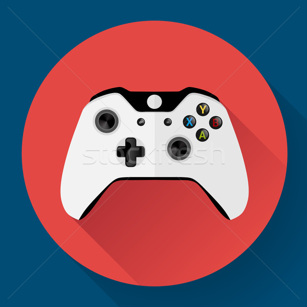 Game controller flat icon with long shadow Stock photo © MarySan