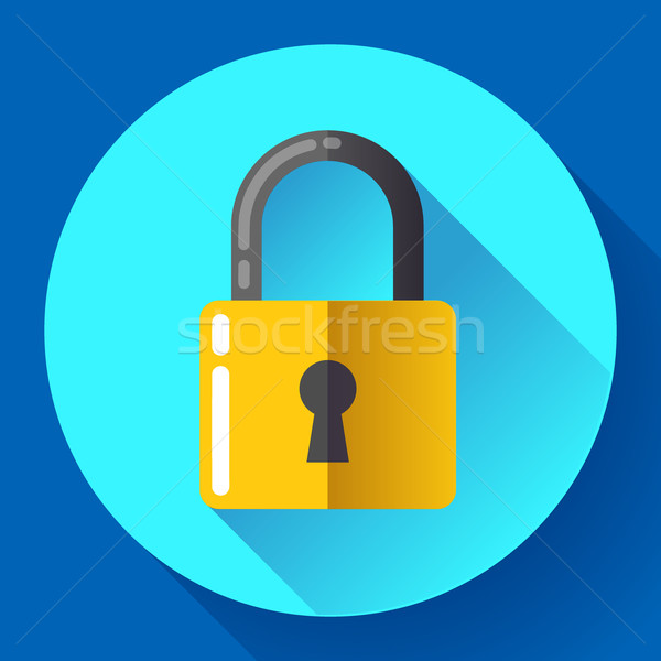 Vector lock icon with long shadow. Flat design style. Stock photo © MarySan