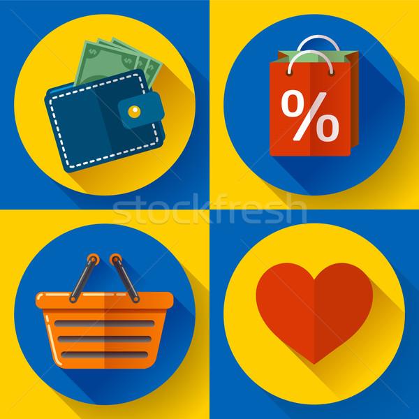 Shopping icônes affaires femme Photo stock © MarySan