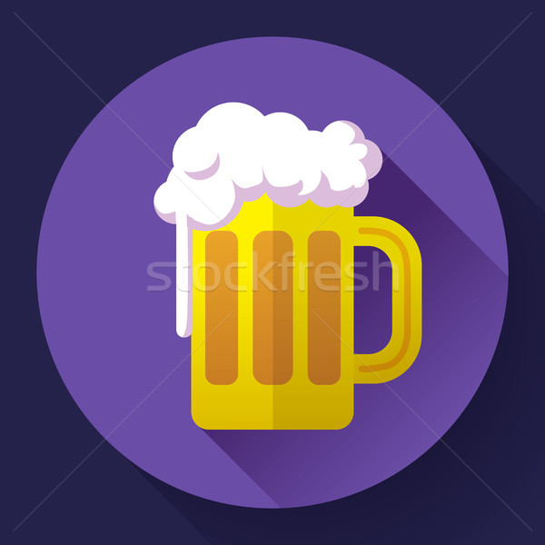 Vector beer glass cup icon. Oktoberfest logo. Flat designed style Stock photo © MarySan