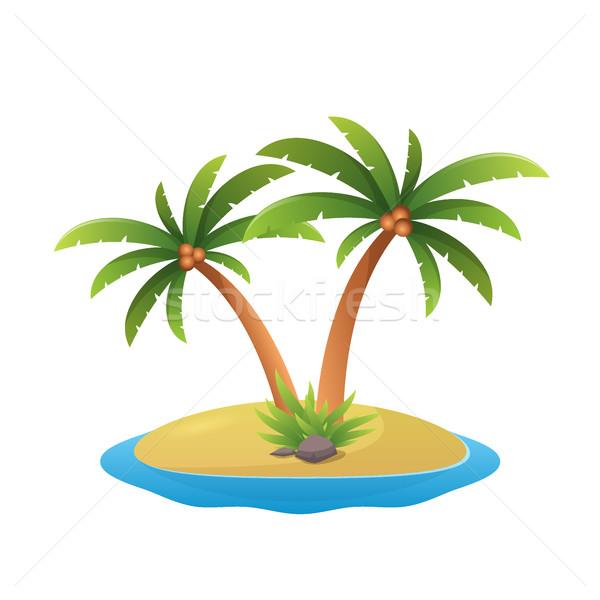 Ada logo tropikal palmiye ağaçları deniz dalgalar Stok fotoğraf © MarySan