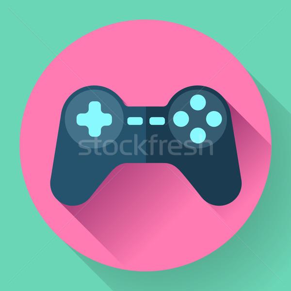 Kontroler gier ikona długo cień technologii biały Zdjęcia stock © MarySan