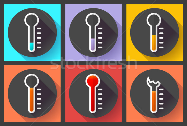 Thermometer icon set, High temperature symbol vector. Flat designed style.  Stock photo © MarySan