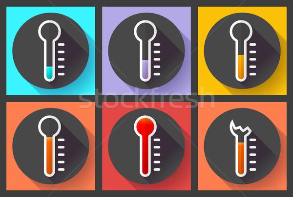 Termometre yüksek sıcaklık simge vektör Stok fotoğraf © MarySan