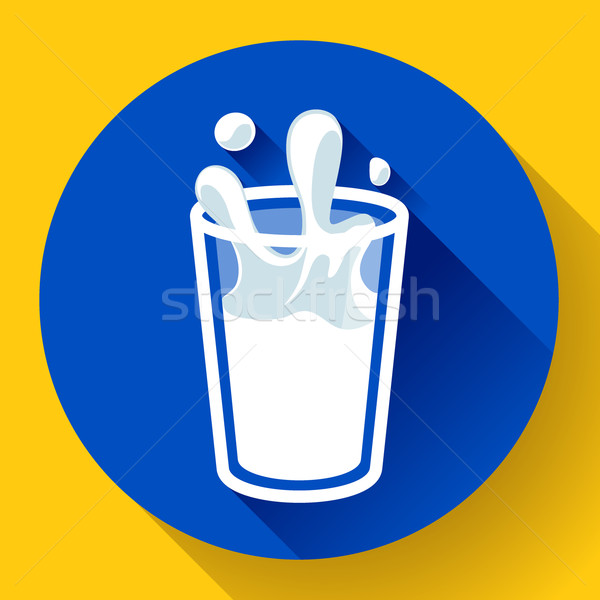 Glas melk splash vector icon stijl Stockfoto © MarySan