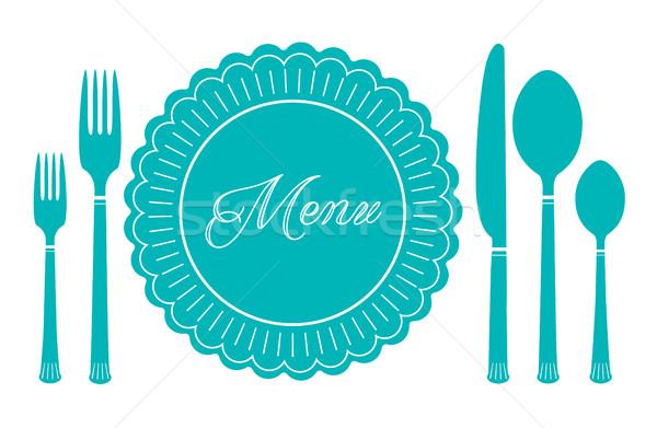 пластина ножом вилка икона меню знак Сток-фото © MarySan