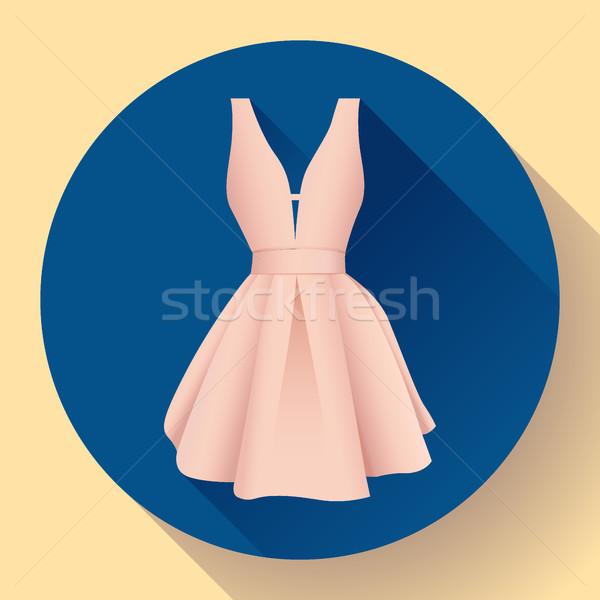 Vrouw jurk icon vector avond meisje Stockfoto © MarySan