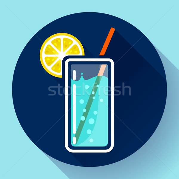 glass of water with lemon icon flat 2.0 designe style long shadow Stock photo © MarySan