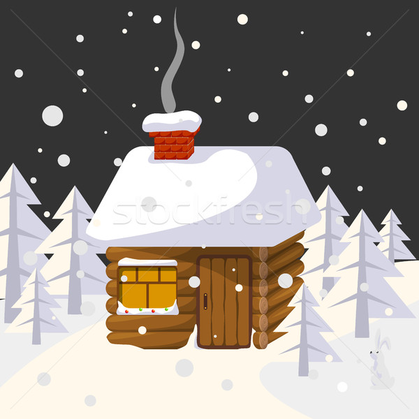 Christmas landscape with house in forest trees and wild animals Stock photo © MarySan