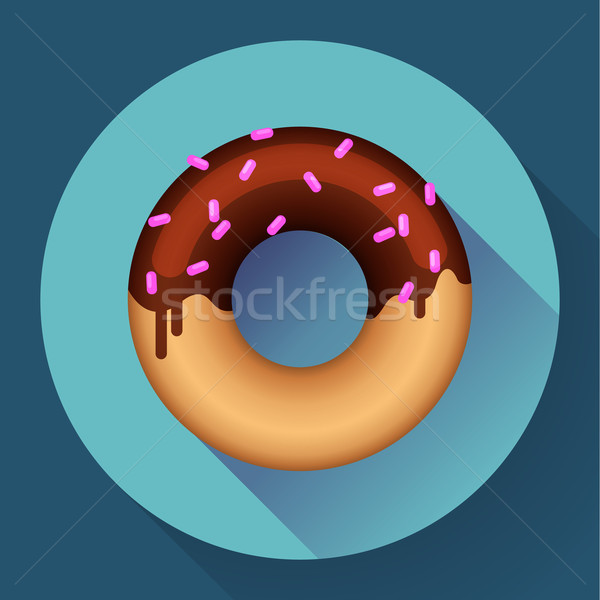 Cute sweet colorful donut icon. Flat designed style. Stock photo © MarySan