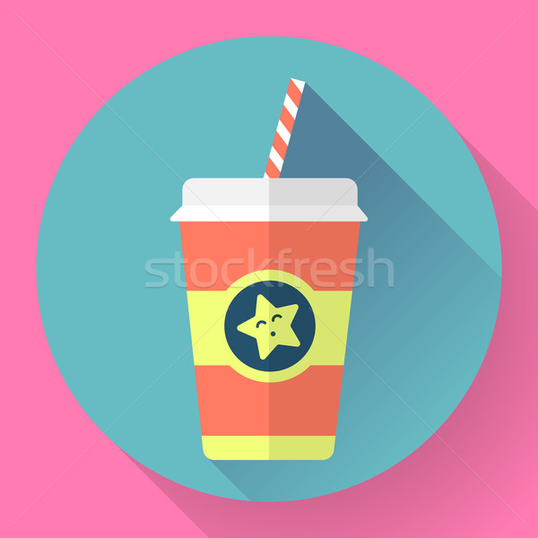 Paper coffee cup with straw. Flat style design - vector Stock photo © MarySan