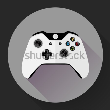 Black wireless Game controller flat icon with long shadow Stock photo © MarySan