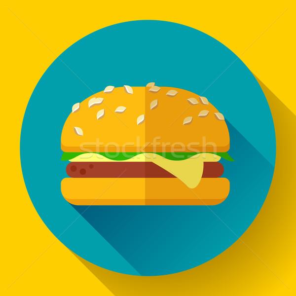 гамбургер икона долго тень дизайна стиль Сток-фото © MarySan