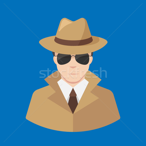 Flat Detective icon vector - Professions icons Stock photo © MarySan