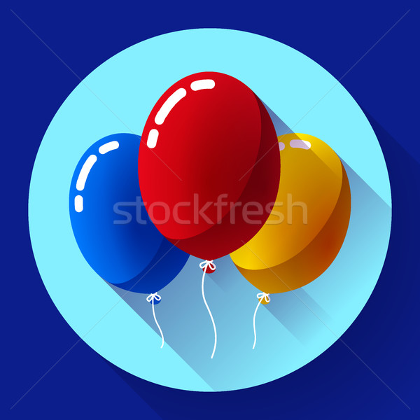 Festive multicolored air balloons icon holiday symbol, birthday party Stock photo © MarySan