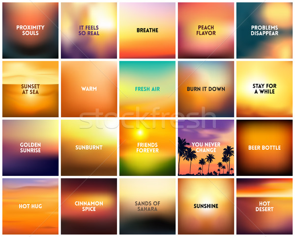 BIG set of 20 square blurred nature golden orange yellow red backgrounds. With various quotes Stock photo © MarySan
