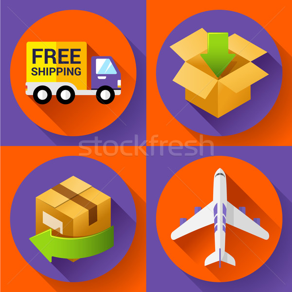 Shipping and delivery icons set. Stock photo © MarySan