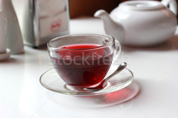 şeffaf cam fincan kırmızı meyve çay Stok fotoğraf © MarySan