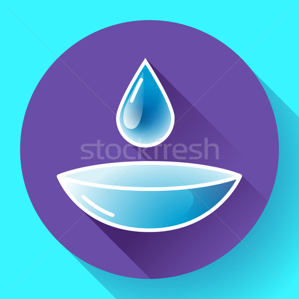 Contact lense with water drop icon. Flat design style. Stock photo © MarySan