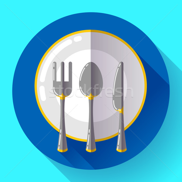 Dishes - Plate knife and fork icon. Flat vector design with long shadow Stock photo © MarySan