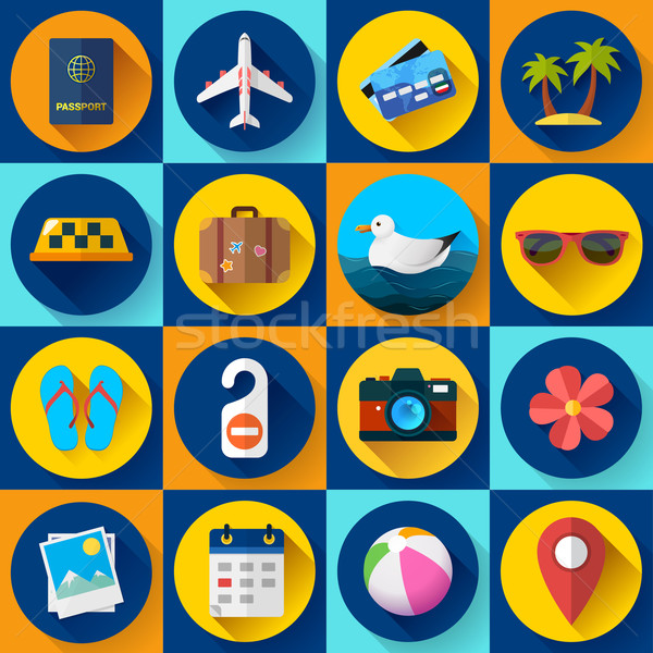Travel and tourism icon set. Flat designed style Stock photo © MarySan