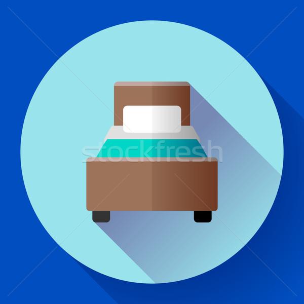 Hotel single room Bed icon flat style Stock photo © MarySan