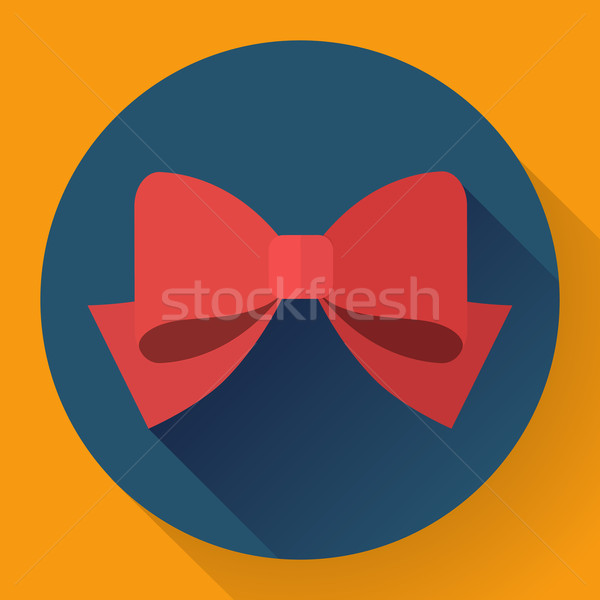 Vector red bow icon. Flat designed style Stock photo © MarySan