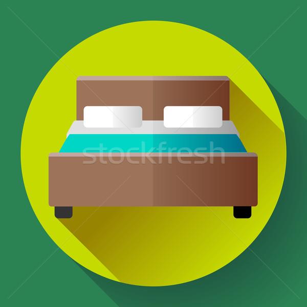Hotel doble cama icono estilo albergue Foto stock © MarySan