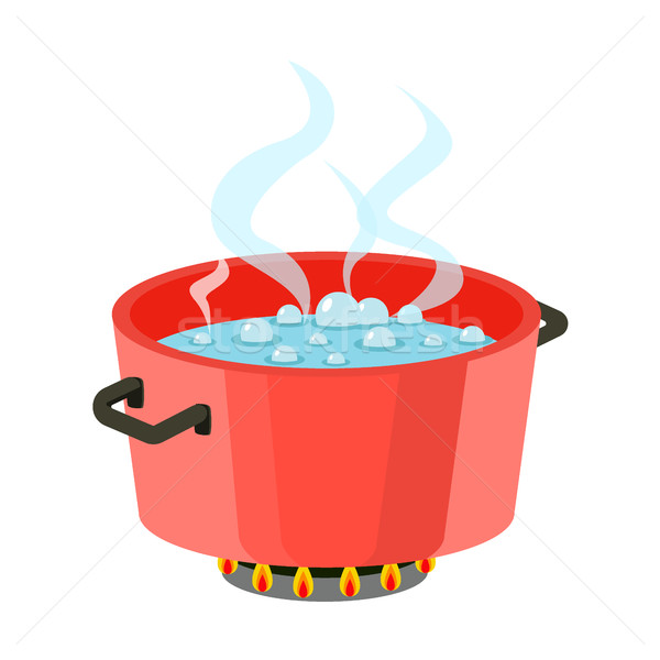 Boiling water in pan Red cooking pot on stove with water and steam Flat design vector Stock photo © MarySan
