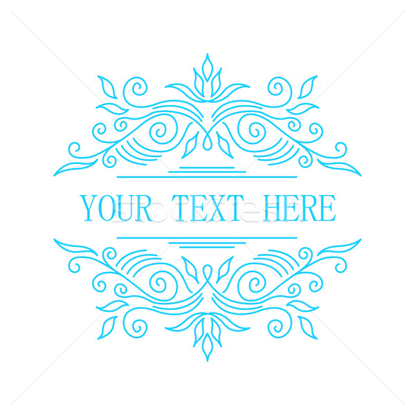 Elegant blue floral frame. Lineart vector illustration with text Stock photo © MarySan