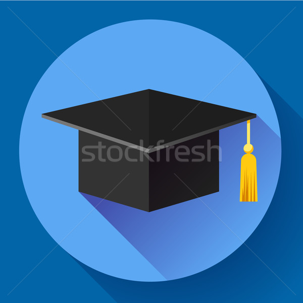 Graduation cap icon. Flat design style. Stock photo © MarySan