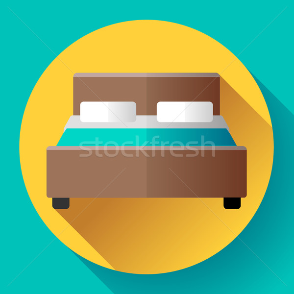 Hotel Double Bed icon flat style Stock photo © MarySan