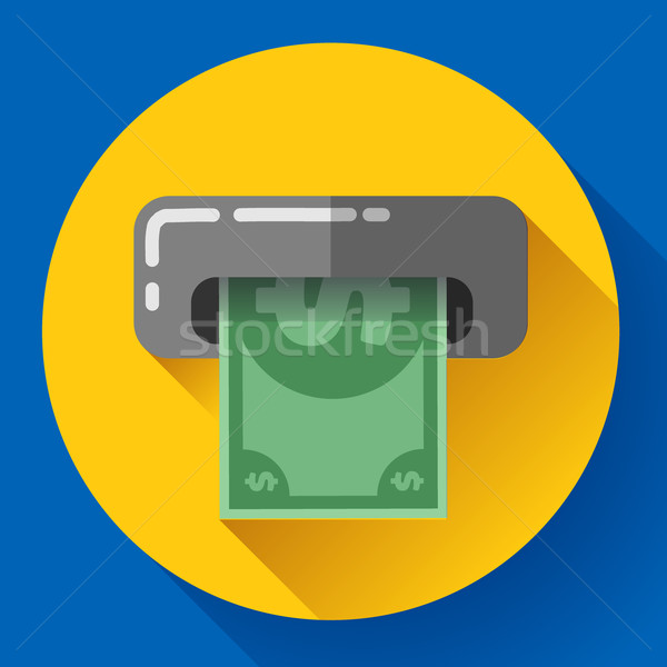 Getting money from an ATM bankomat card symbol icon. Flat design style. Stock photo © MarySan