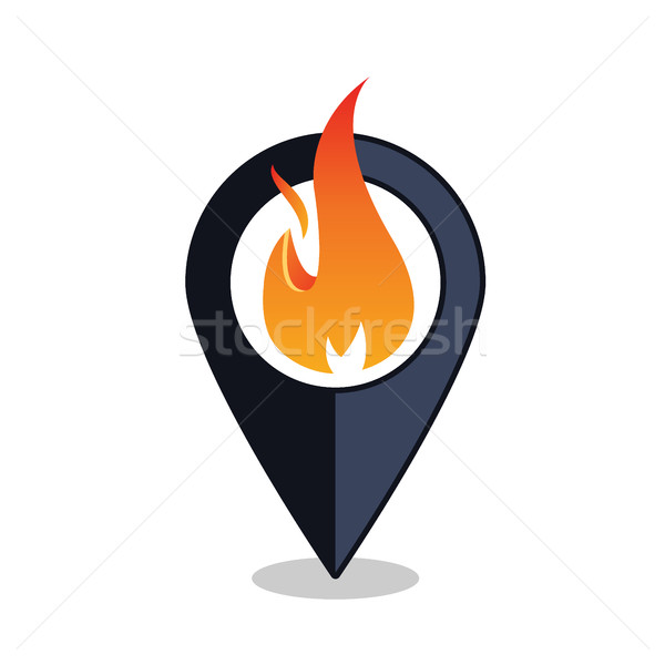 Flame Point - Map Pointer With Fireplace Sign - Fire Alarm Stock photo © MarySan